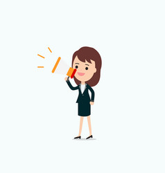 businesswoman announce with megaphone vector image