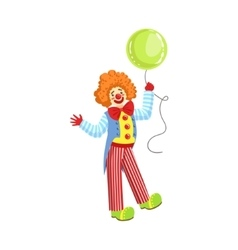 Colorful Friendly Clown With Balloon In Classic vector image vector image