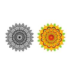 set mandala different color vector image