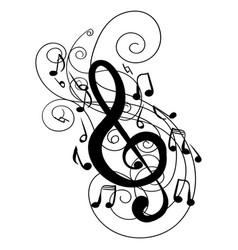 swirl whirl treble clef key doodle vector image vector image