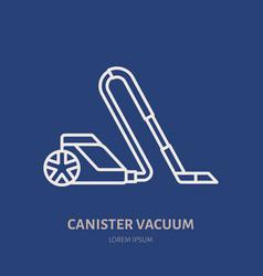 Vacuum cleaner flat line icon logo vector