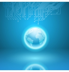 Abstract electronics blue background with circuit vector image