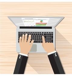 Businessman Hands Working Laptop vector image vector image