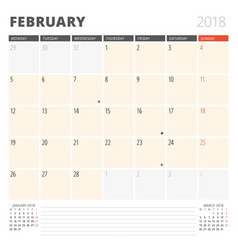 calendar planner for february 2018 design vector image vector image