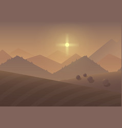 Cartoon sunrise Mountain Landscape Background with vector image