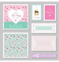 Cute card templates set in pastel colors vector image vector image