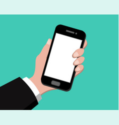 hand holding smart phone on green background vector image vector image