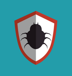 shield with bug icon vector image vector image