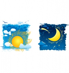 sunny day and moonlit night vector image