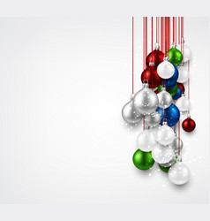white background with colorful christmas balls vector image vector image