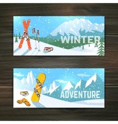 Winter sport tourism banners set vector image vector image