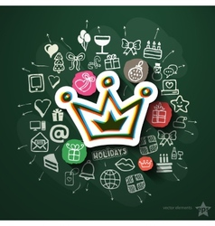 Celebration collage with icons on blackboard vector image vector image