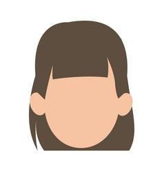 faceless woman girl cartoon head icon vector image