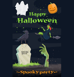 halloween pumpkin and ghost greeting banner design vector image vector image