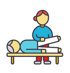 osteopathy manual therapy massage flat line vector image