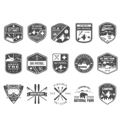 Set of Ski Club Patrol Labels Vintage Mountain vector image vector image