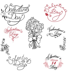 Valentine day elements vector image vector image