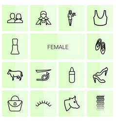 14 female icons vector