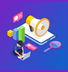 3d isometric digital marketing concept man is vector image
