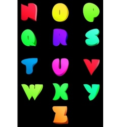 Abstract english alphabet Comic style N-Z vector