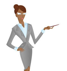 Afroamerican woman in suit pointing isolated on vector