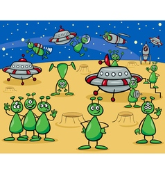 aliens characters cartoon vector image