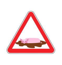 Attention unclean warning road sign pig in mud vector