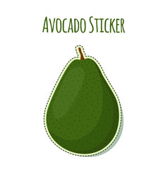 Avocado sticker logo tropical summer fruit label vector