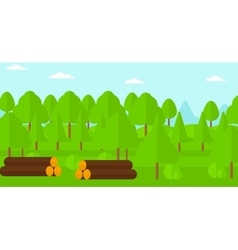 Background of the forest with piles of logs vector image