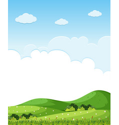 Background scene with green grass on the hills vector