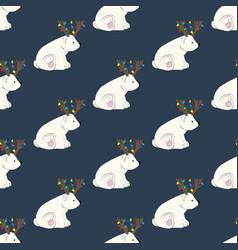 bear in deer costume seamless pattern vector image
