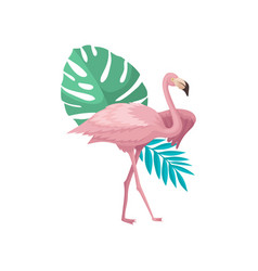 Beautiful pink flamingo with palm tree and vector