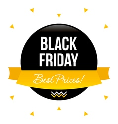 Black friday sale sticker with golden banner vector