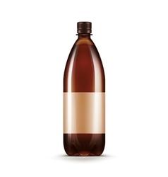 Blank Brown Plastic Water Beer Kvass Bottle vector image