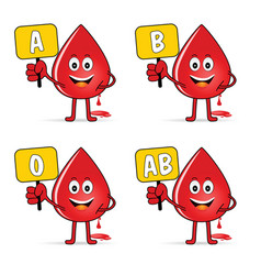 Blood group icon with drop set vector