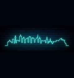 blue neon skyline sydney city bright sydney vector image