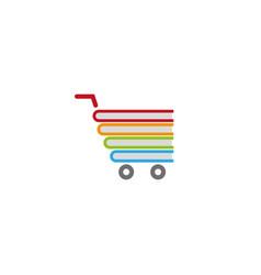 Books inside a cart shopping symbol for logo vector