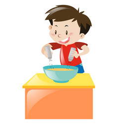 Boy putting salt and pepper in soup vector