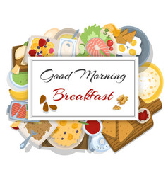 Breakfasts top view frame vector