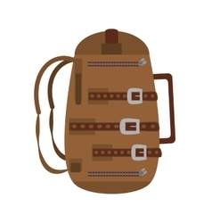 Brown packback travel bag tourist vector