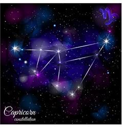 Capricorn constellation with triangular background vector