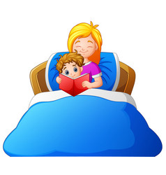 Cartoon mother reading bedtime story to son on bed vector