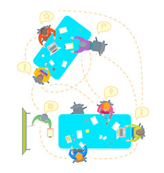 cartoon teamwork brainstorming top view vector image