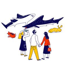 characters visit public aquarium family spare vector image