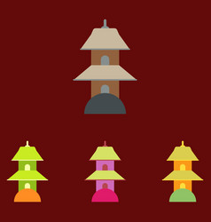 Chinese temple of heaven pagoda set vector