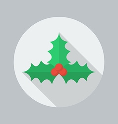 Christmas Flat Icon Holly berry vector image