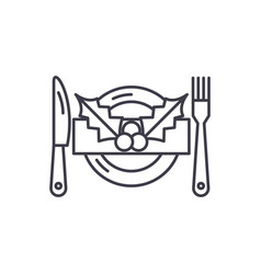 christmas menu line icon concept christmas menu vector image