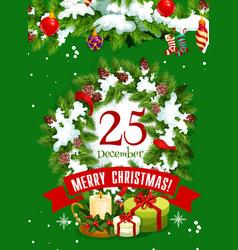 christmas tree wreath greeting card of xmas design vector image