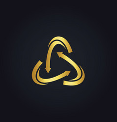 Circle gold arrow logo vector