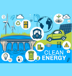 Clean earth alternative energy sources poster vector